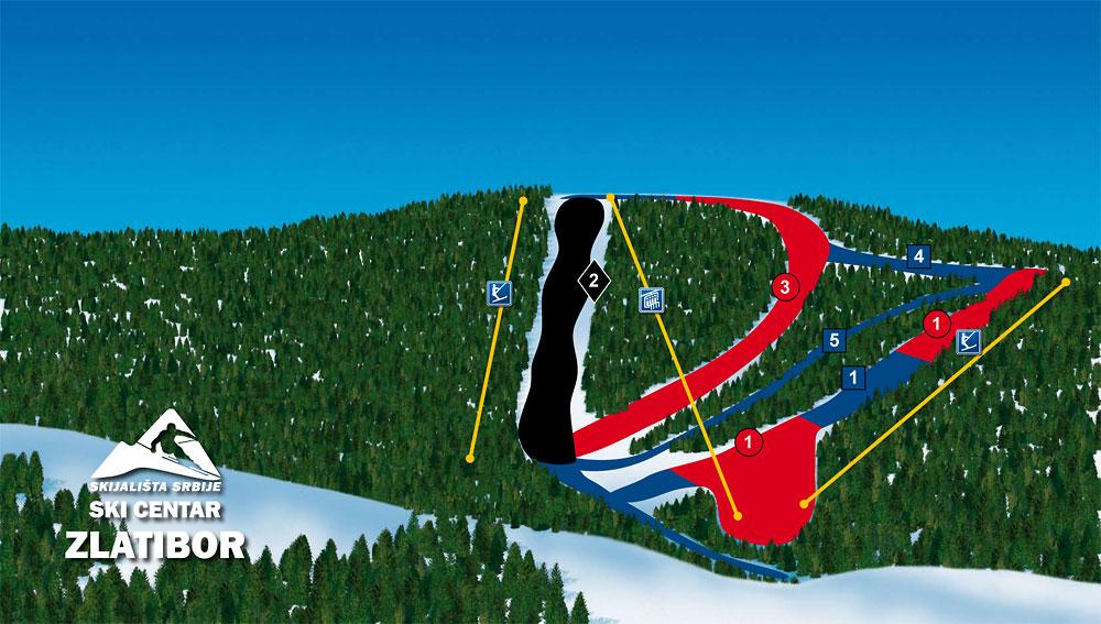 Tornik Zlatibor Ski Mapa Staze Zicare